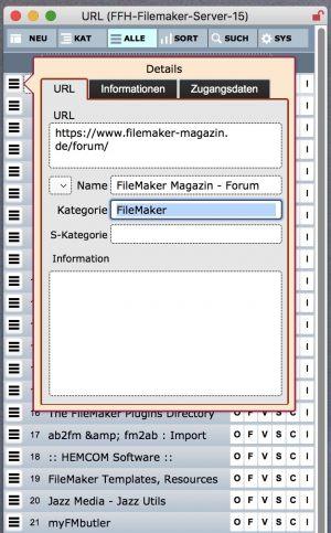 Detailansicht des URL-Datensatzes
